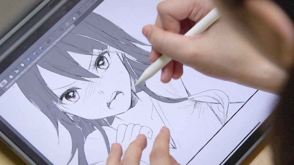 anime artist drawing a character
